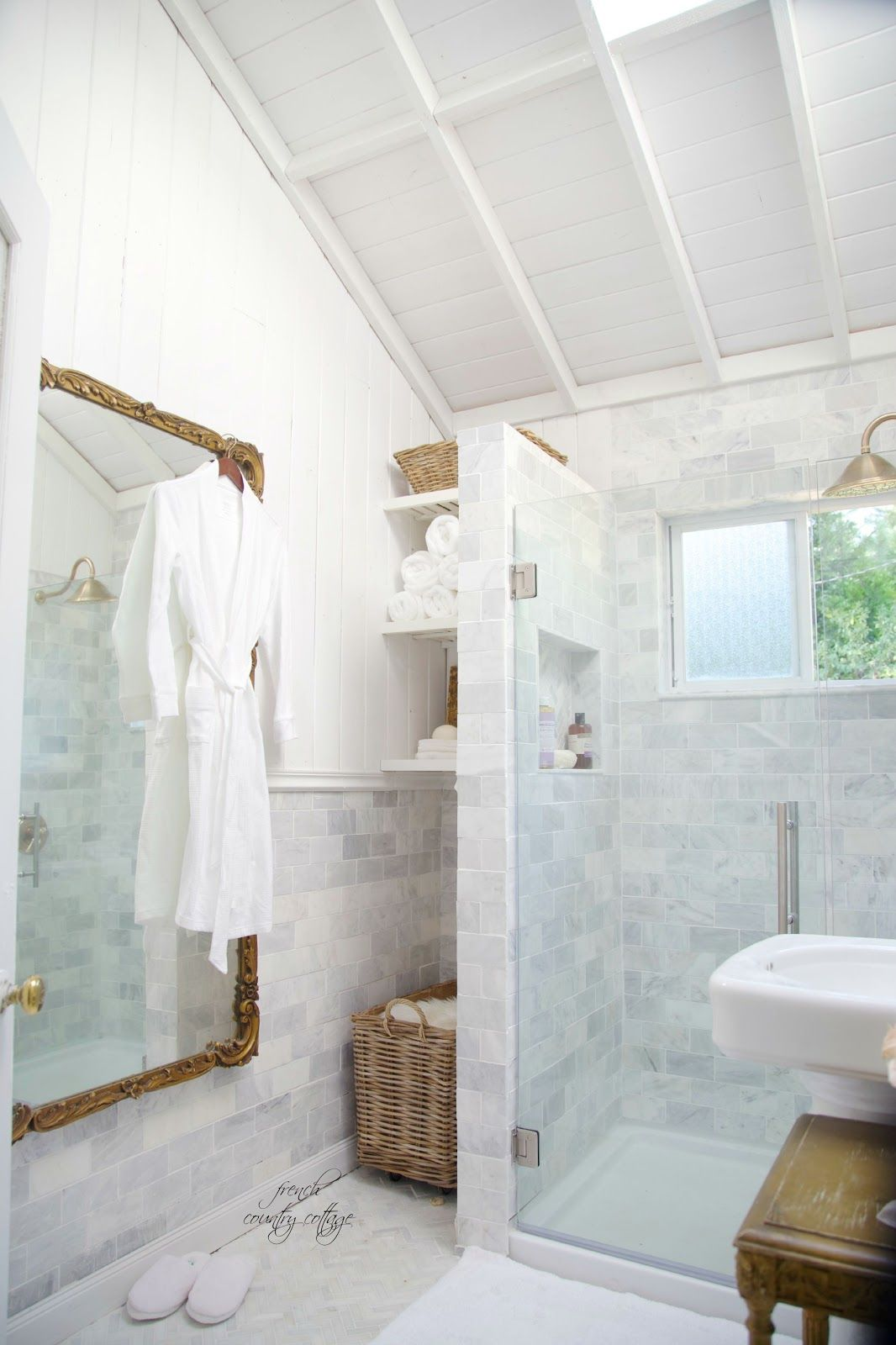 French Cottage Bathroom Renovation- Reveal In 2019 Powder Rooms