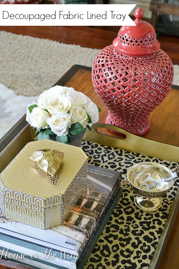 Wooden Trays To Decorate Interesting Decoupaged Fabric Lined Tray  Trays Gold Diy And Gold Spray Paint Inspiration Design