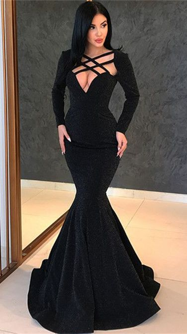 Sexy Black Long Sleeve Evening Gowns | 2019 Mermaid Long Prom Gowns ,P2524