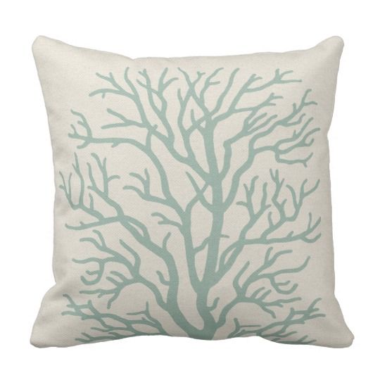 Coral Tree In Seafoam Green Throw Pillow Sea Sea Foam Room Unique Seafoam Green Decorative Pillows