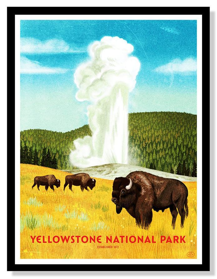 59 Parks Print Series National Park Posters National Parks Yellowstone National Park