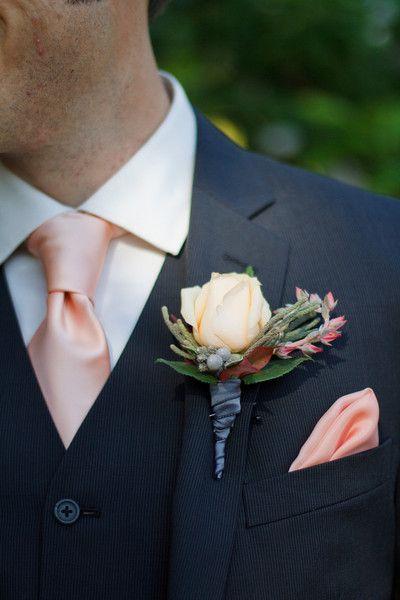 intimate sonoma garden wedding | peach tie, rose boutonniere and