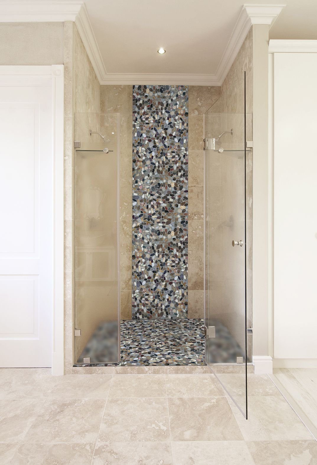 Style Selections River Rock Multicolor Flat Polished Pebble Mosaic