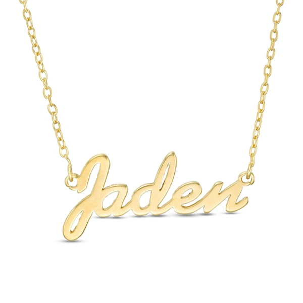 Script Name Necklace In Sterling Silver With 10k Gold Plate 1 Line In 2020 Name Necklace Gold Necklace Gold