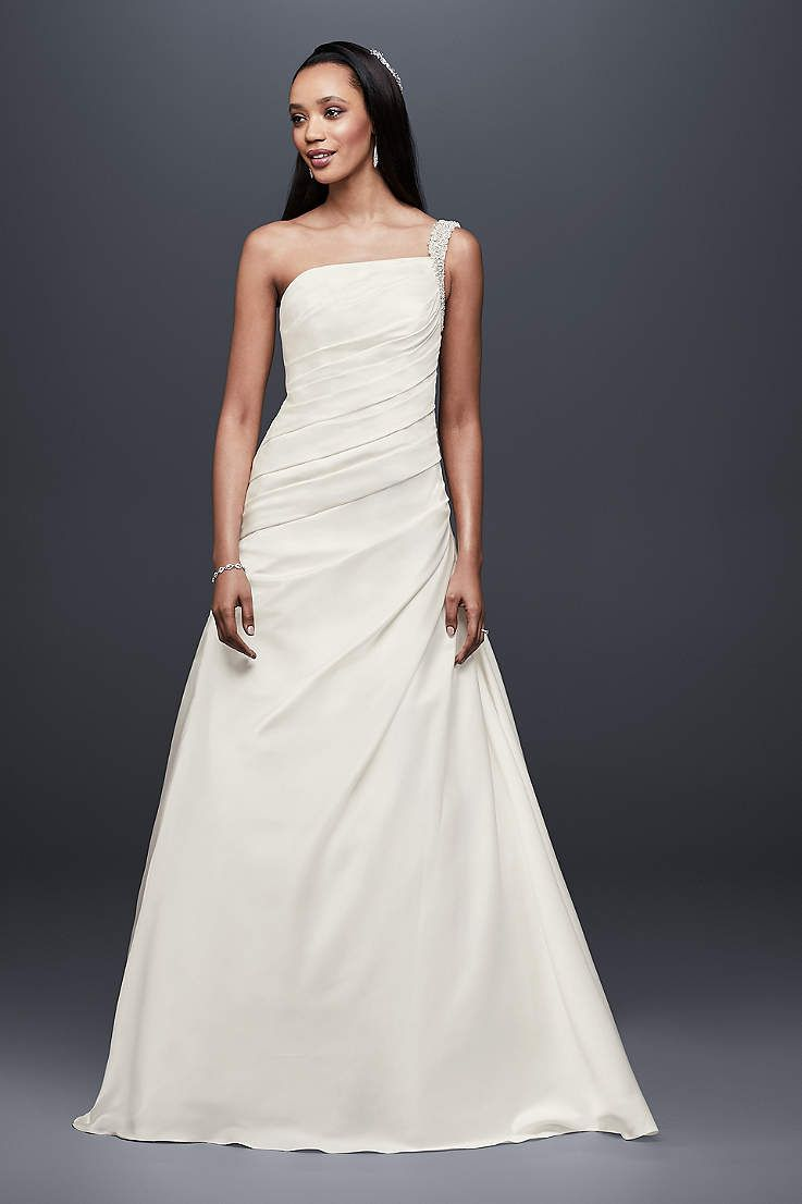 View one shoulder long wedding dress at davidus bridal bride