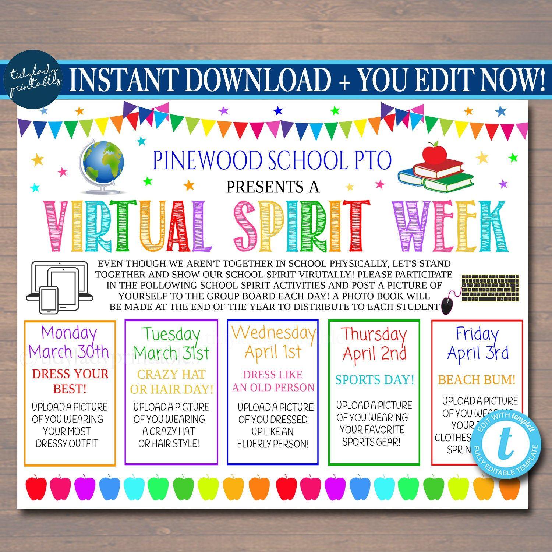 Virtual Spirit Week Itinerary Schedule Daily Weekly Calendar