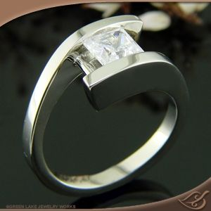 14k White Gold Bypass Channel Ring