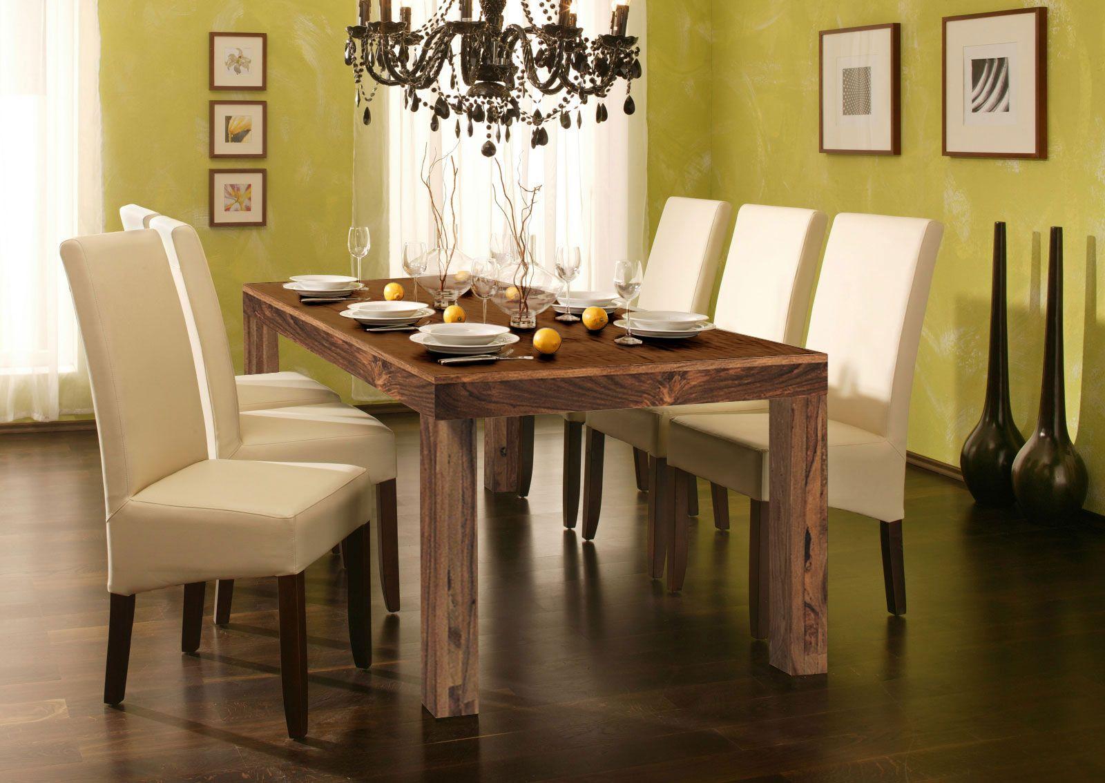 Großartig SAM® Sheesham Esszimmer Tischgruppe Natur 7tlg Creme Cubus 7029