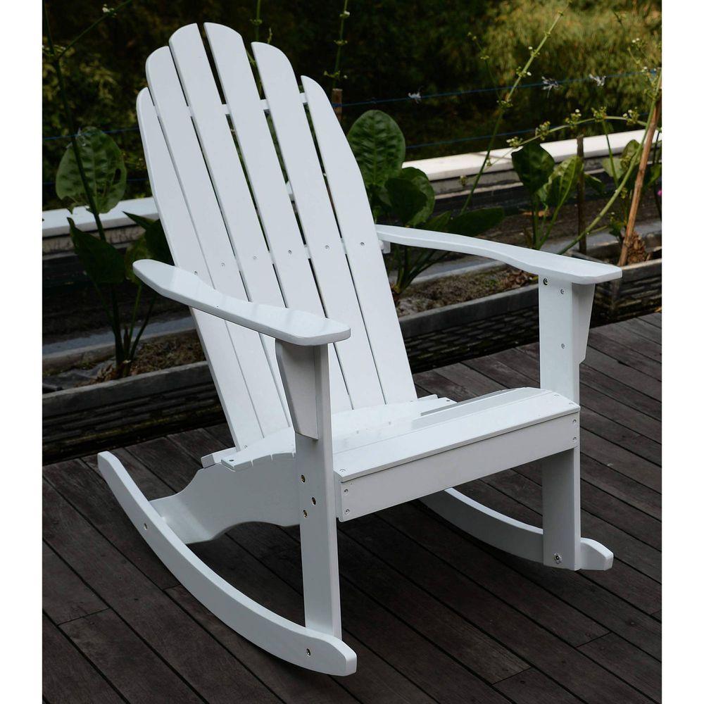 Adirondack Rocking Chair Outside Patio Garden Deck Furniture Hard Wood White