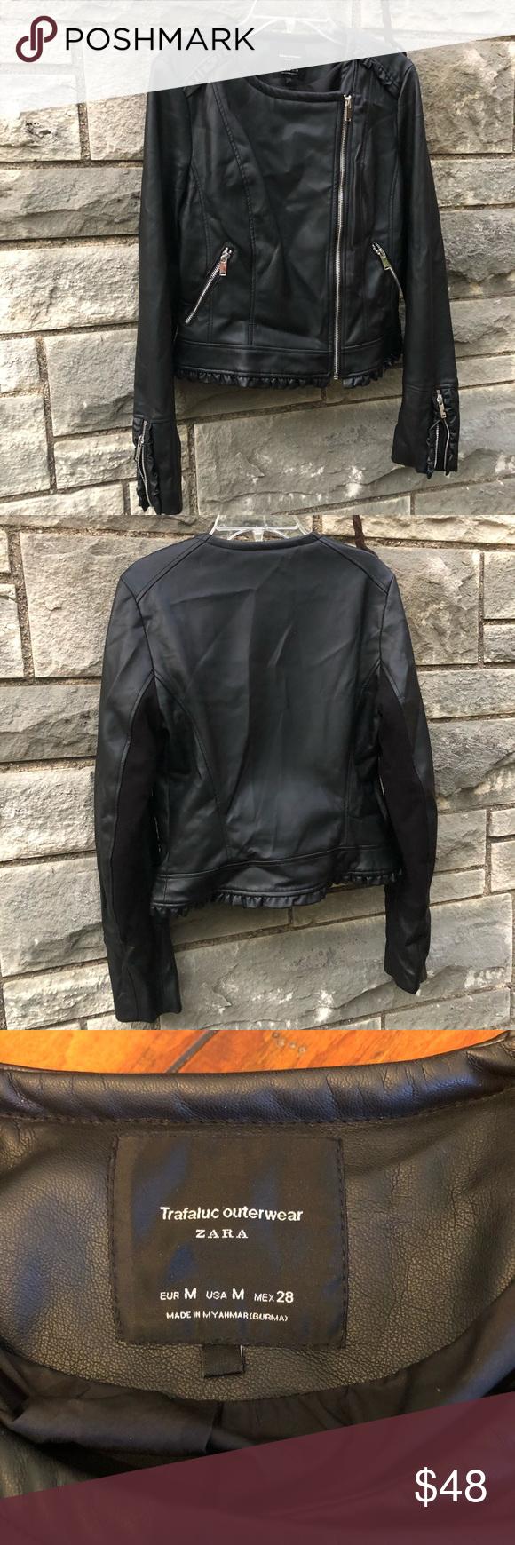 Zara Moto Side Zip Vegan Leather Jacket Ruffle Vegan Leather Jacket Leather Jacket Zara [ 1740 x 580 Pixel ]