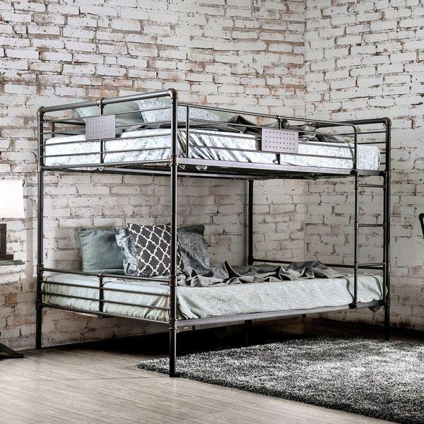 Furniture of America Herman Industrial Antique Black Queen over ...