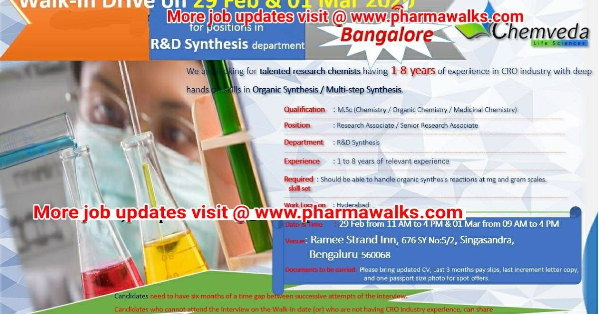 Chemveda Life Sciences walkin interview for multiple