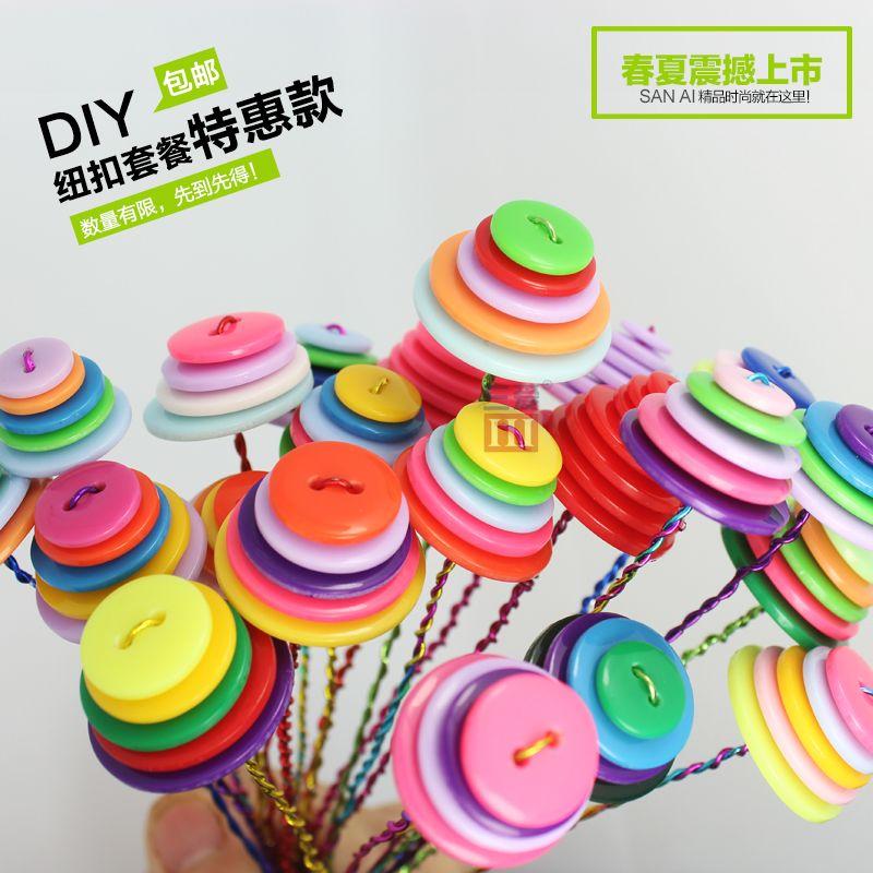 (100pcs / lot) crachás Botão de flor kit de material botão diy artesanal misturado