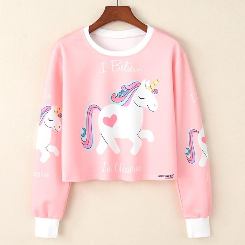 e692da7f4a89b6 Unicorn Sweatshirt Woman - Girls crop top Cartoon