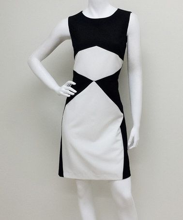 Another great find on #zulily! Black & Ivory Color Block Sheath Dress #zulilyfinds