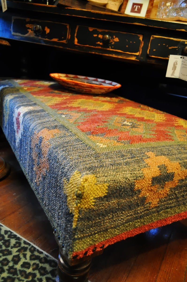 Rectangle Shape Kilim Ottoman With Grey And Yelllow Combine Ornaments Color  Also Brown Wood Flooring Color. Kilim OttomanOttoman Coffee TablesWood ...