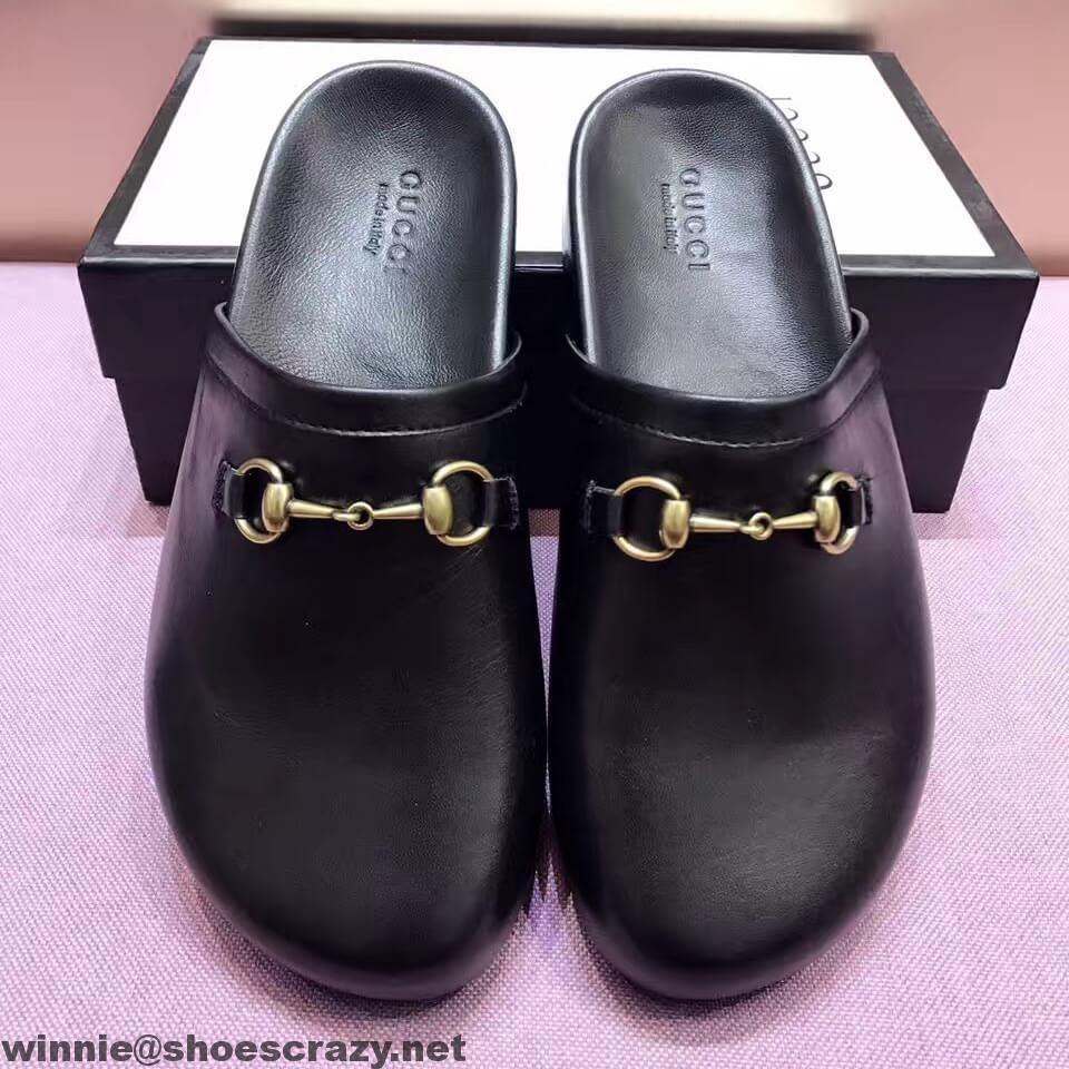 1704066f8e1 Gucci Horsebit Black Leather Slipper 449922 2017