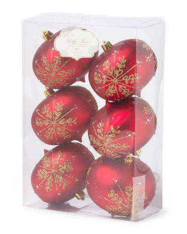 Set Of 6 Embellished Ornaments - Holiday Decor - T.J.Maxx - Set Of 6 Embellished Ornaments - Holiday Decor - T.J.Maxx
