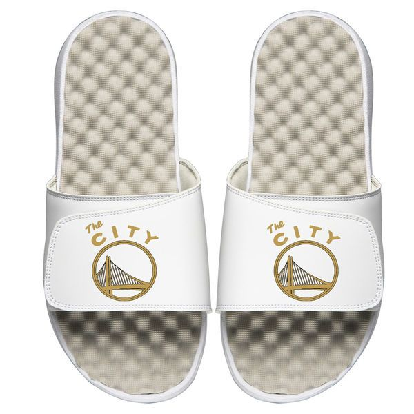100% authentic 946a9 74010 Golden State Warriors ISlide All White Sandals