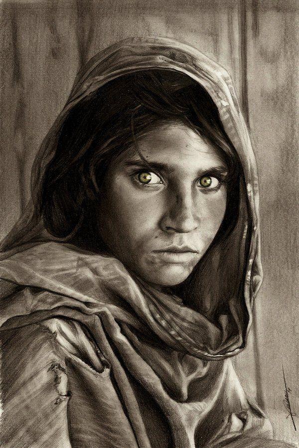Afghan Girl by ~AmBr0 on deviantART
