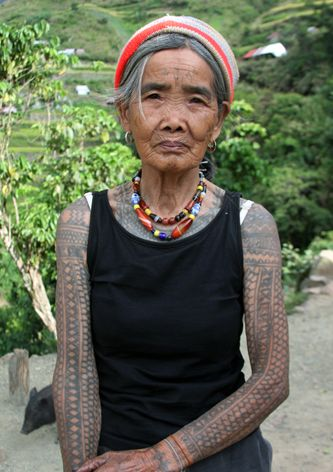 This is whang od at 91 years old she is the last kalinga for Tattoos that last a year