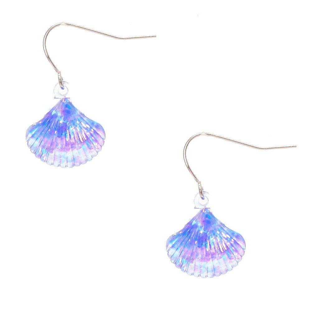 Blue Holographic Seashell Drop Earrings