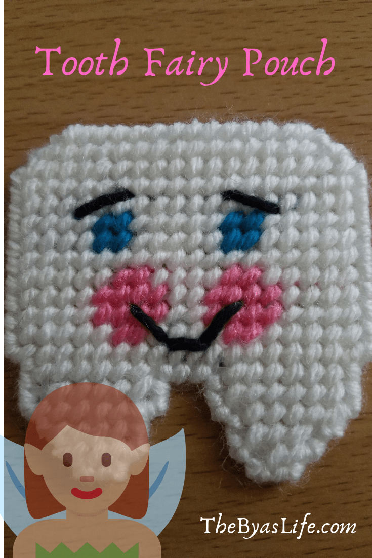 Children/'s Finished Plastic Canvas Tooth Fairy Pouch