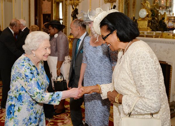 Queen Elizabeth II Photos - Queen Elizabeth II talks to Dame Cecile La Grande (R) of Grenada during a reception during a reception ahead of a  lunch at Buckingham Palace on June 10, 2016 in London, United Kingdom. - Governors General Lunch Hosted By The Queen After The National Service Of Thanksgiving To Celebrate The Queen's 90th Birthday