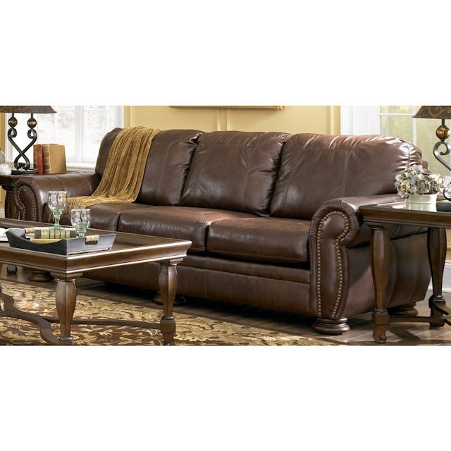 Ashley Furniture Leather Sofas Palmer Walnut Leather Sofa