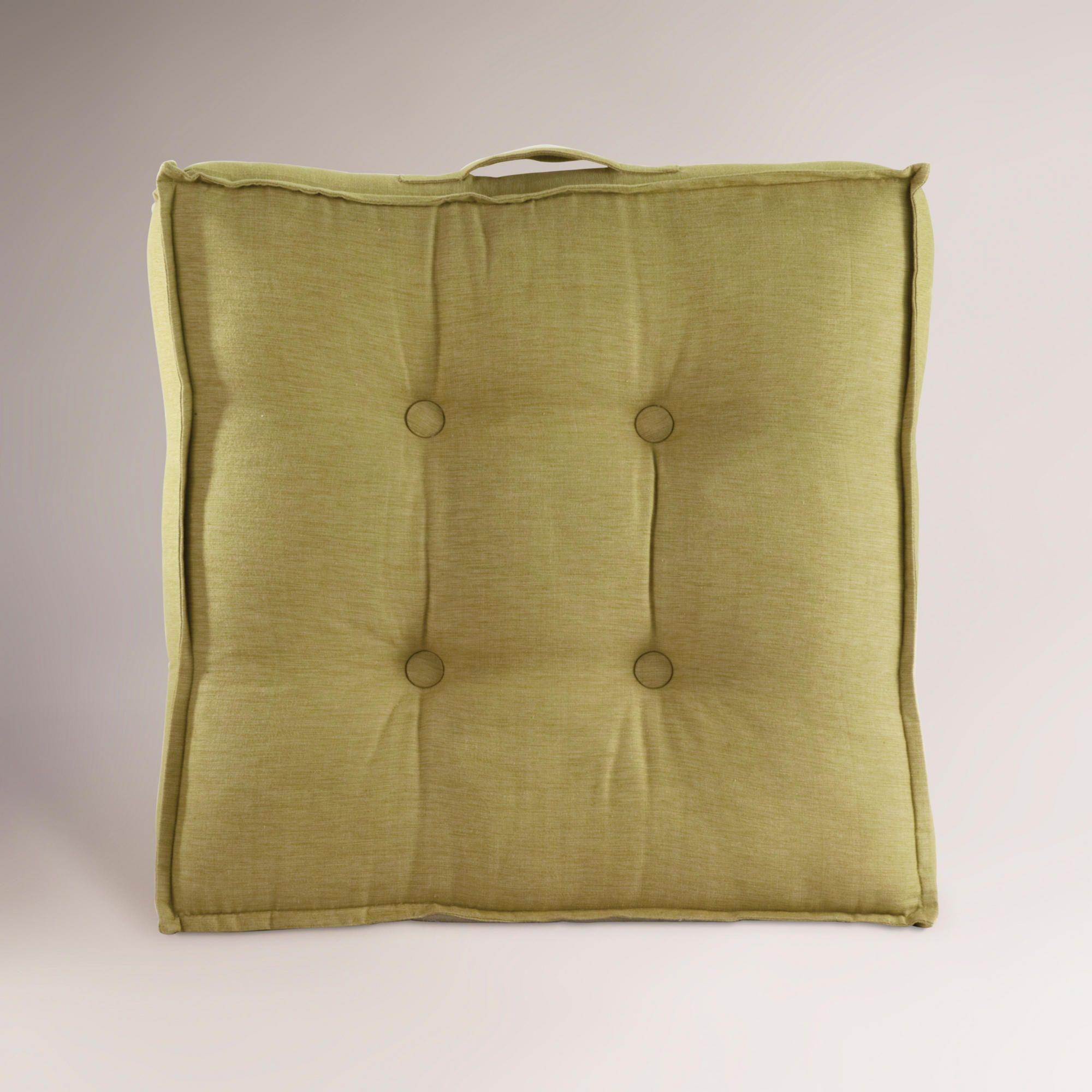 Green Khadi Tufted Floor Cushion | Floor pillows, Living rooms and ...