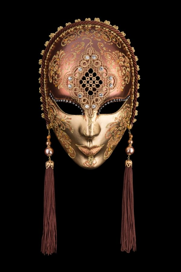 Penelope Bronze venetian mask, ball mask, masquerade mask, carnival venetian mask in papier mache