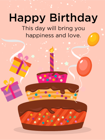 Colorful Birthday Cake ECard
