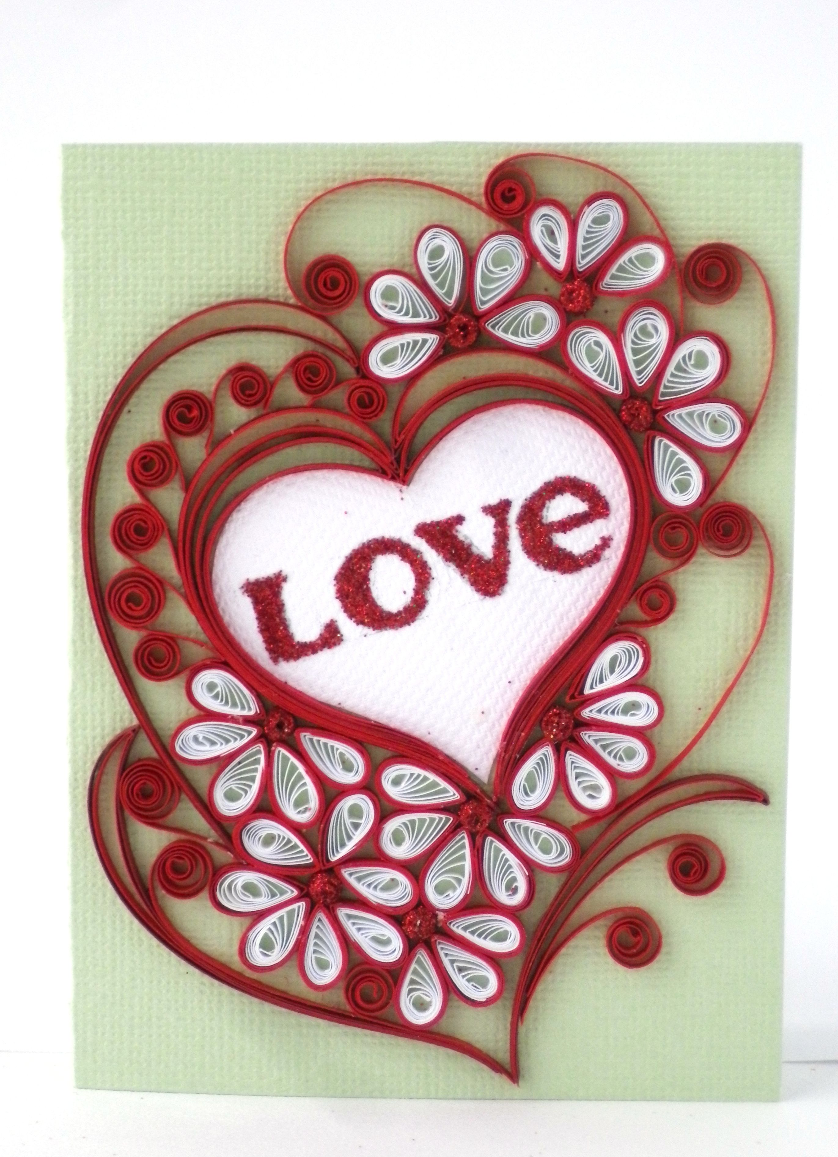St Valentine s greeting card Quilling Pinterest