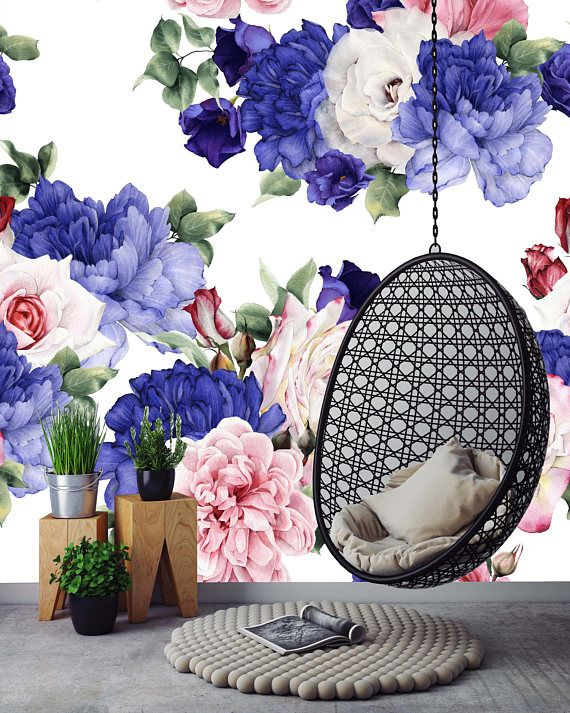 Removable Wallpaper Mural Peel & Stick Floral Pattern with