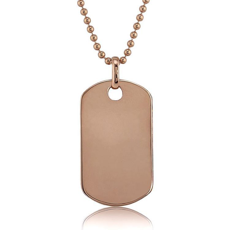 Top customizeable 14k Rose Gold Dog Tag with a ball chain, | Men's  EG02