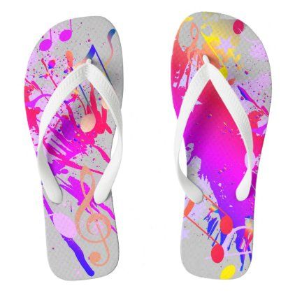 Fun Colorful Paint Splash and Music Notes on GREY Flip Flops