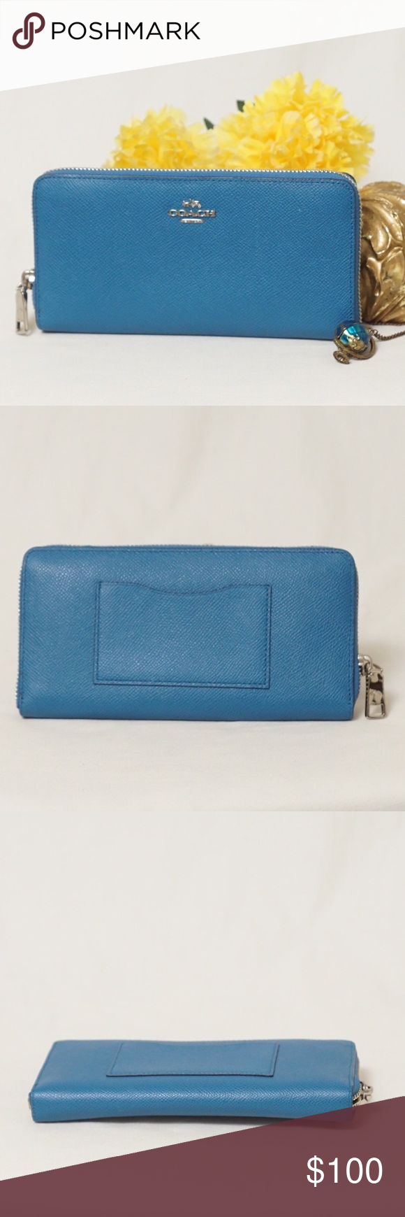 """EUC COACH ZIP AROUND ACCORDION WALLET CLUTCH Adorable Color!! Beautiful style. Preloved in excellent condition both exterior and interior. Like new. Size 7,5""""x4"""". Pet smoke free home.  AUTHENTIC❣️LEATHER ❣️FAST SHIPPING!❣️MAKE AN OFFER  Please see ‼️matching bag‼️and my other listings🌺💞😍 Coach Bags Wallets"""