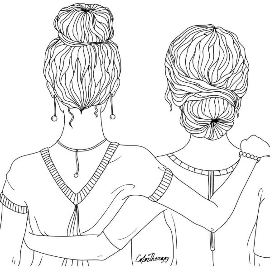 Ausmalbilder Beste Freunde Mädchen | Kinder Ausmalbilder