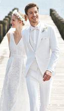 2017 Últimas Escudo Pant Diseños Patrón Blanco Trajes de Boda para Hombres  flaco Verano Playa Chaqueta Novio de Baile Personalizada 3 Unidades Terno  ... 680340afe7c