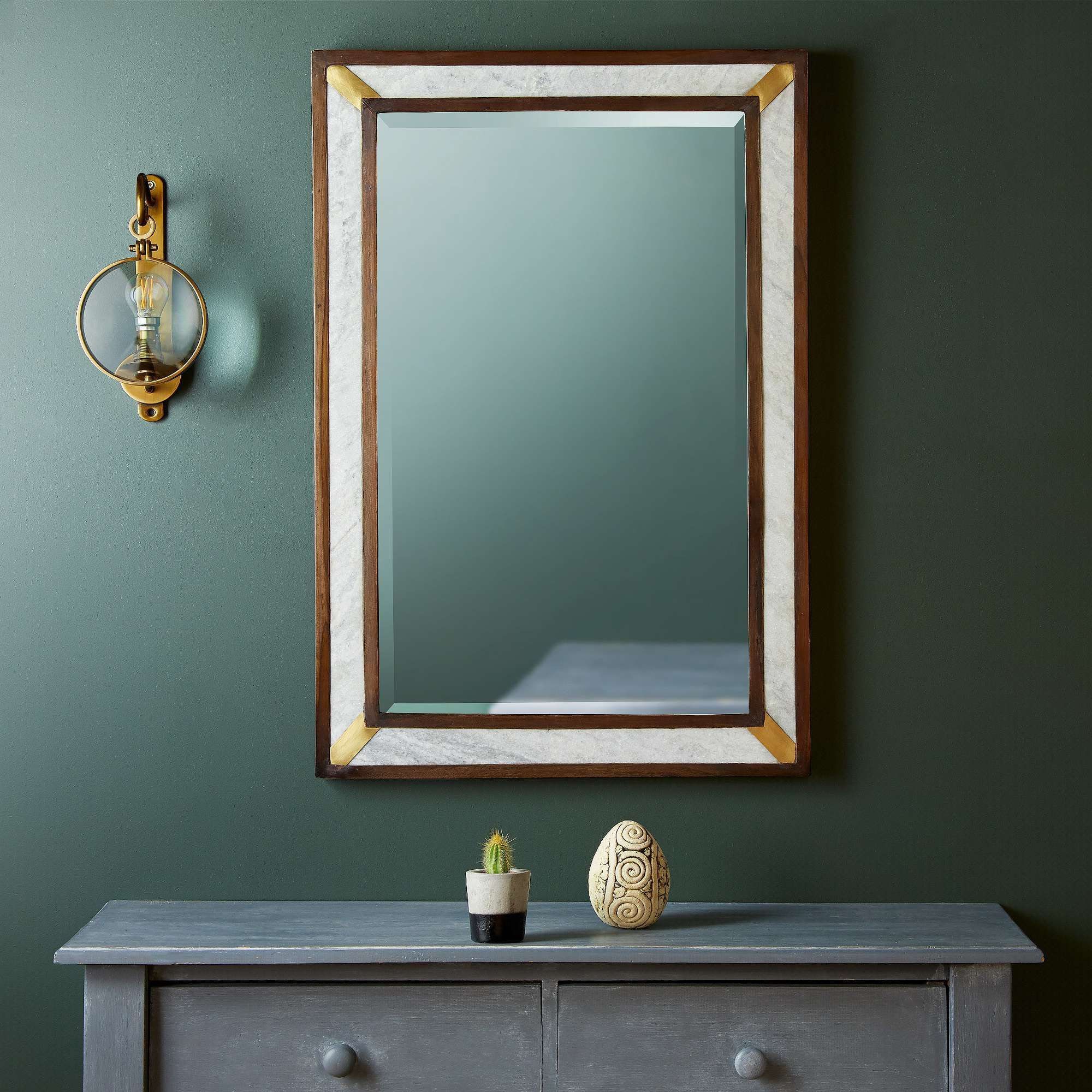 Killy Mirror with brass and marble inlay