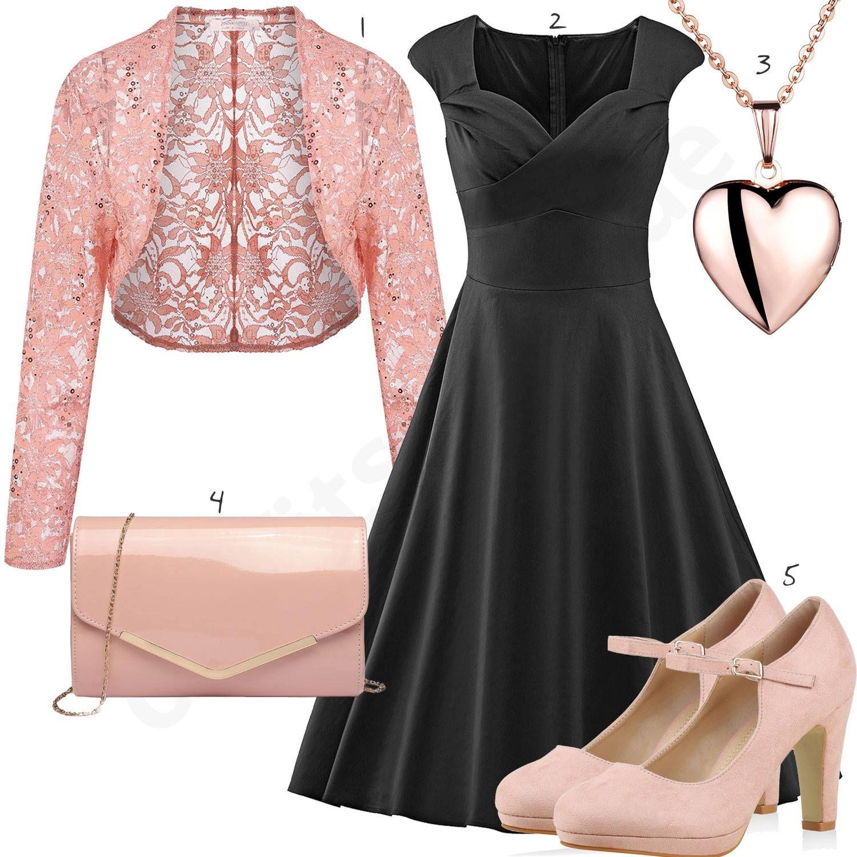 Eleganter Look mit schwarzem Kleid und rosa Jäckchen - outfits11you