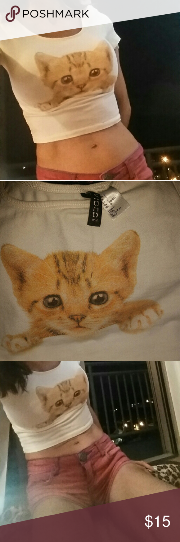 Small Kitten Crop Top Unworn It S So Cute Because Right Wear The Shirt Creases Naturally On Somebody It Looks Like The Cats Small Kittens Small Crop Tops Cute