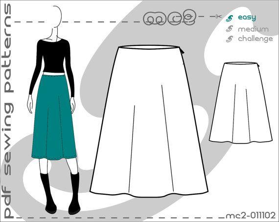 PDF Sewing Patterns for Women A-line Skirt Sloper Block > by mc2patterns > S-M-L Small-Medium-Large mc2-011102