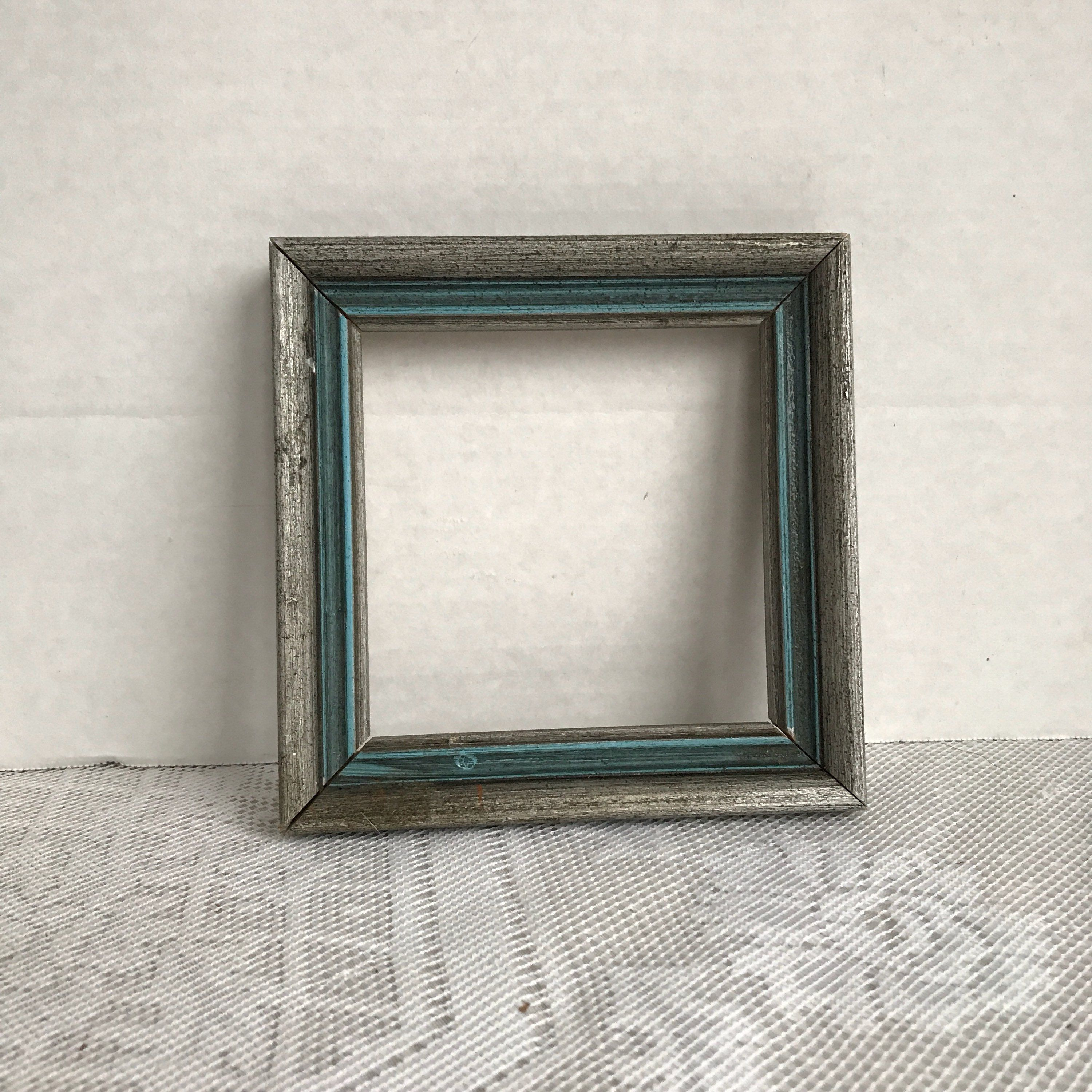 Vintage Blue And Silver Wood Frame Wooden Blue Picture Frame 4 X 4 Inch Square Frame By Vintagepoetic On Etsy Blue Picture Frames Blue Pictures Picture Frames