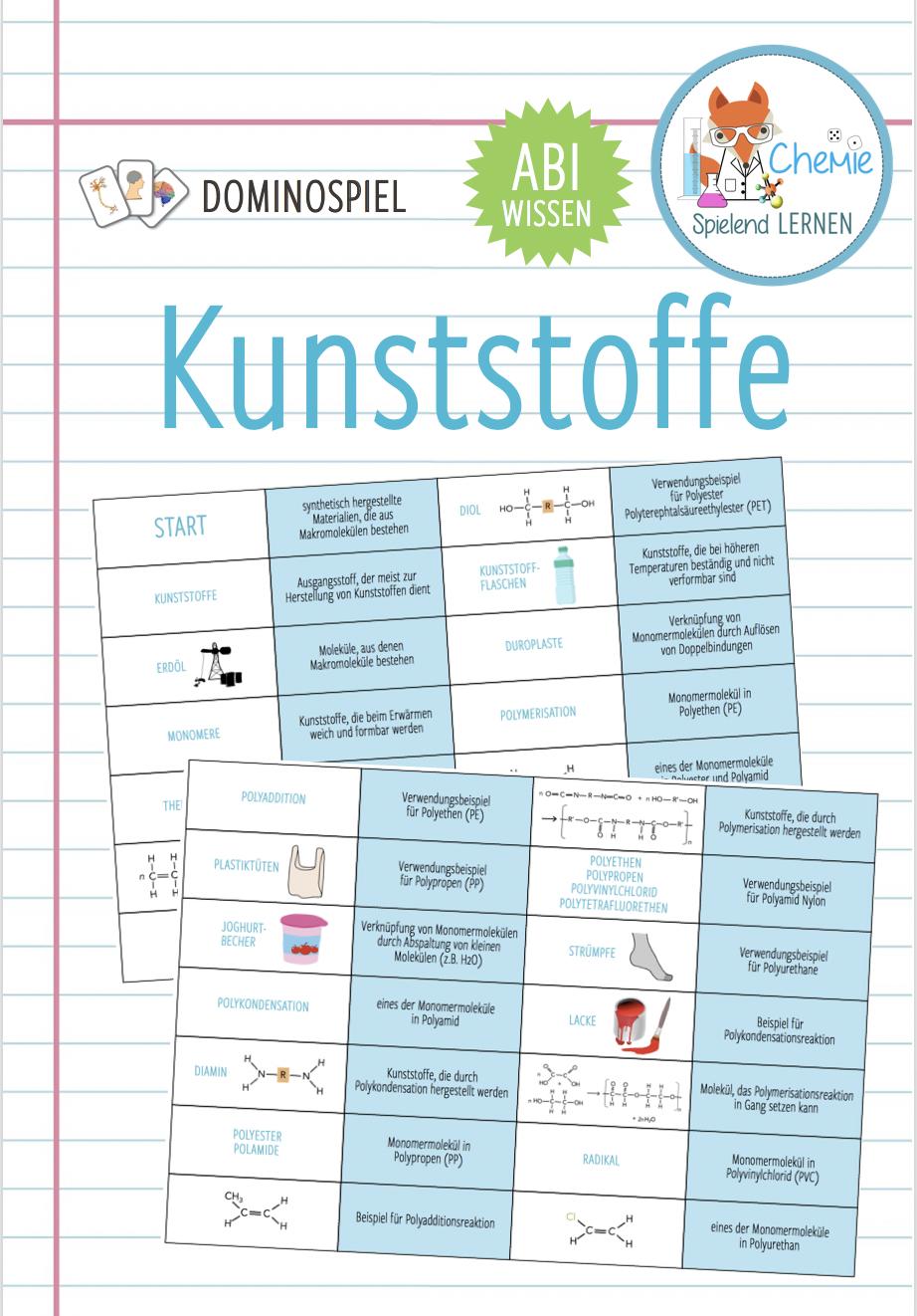 Kunststoffe Domino Spiel Abitur Unterrichtsmaterial Im Fach Chemie In 2020 Domino Spiele Domino Chemie