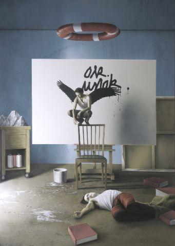 Eckart Hahn, Ohne Titel (Der Kauz), 2007, Acryl auf Leinwand, 200 x 140 cm