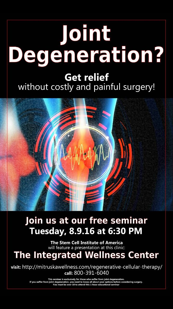 Do you suffer from joint degeneration? Is joint replacement your next step? Come learn more about our joint regenerative injections with this educational seminars. It's free to attend, and refreshments will be provided. Visit our website at mitruskawellness.com or call the office at 732-324-4300 to secure your spot