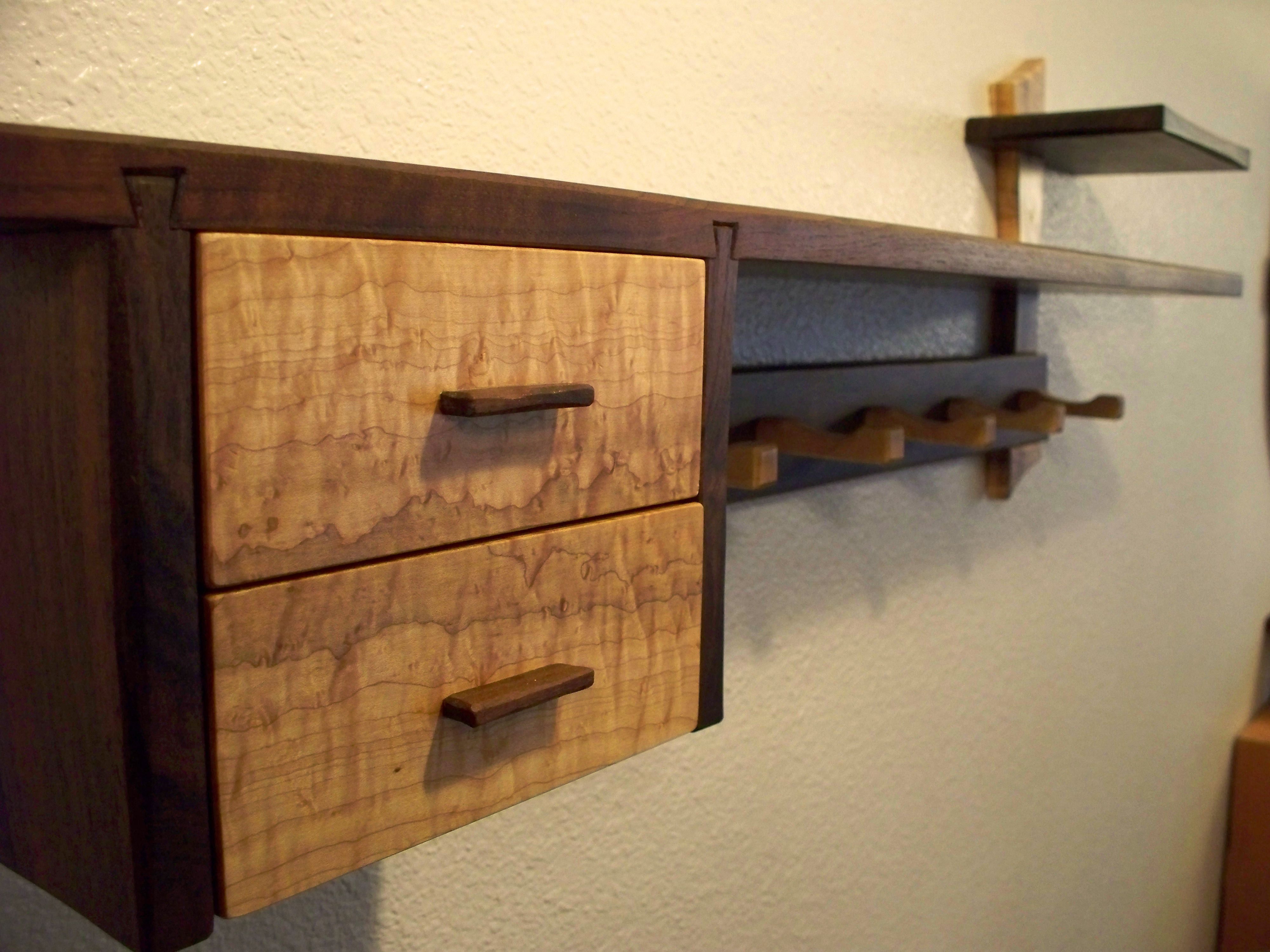 Furniture Old And Vintage Diy Wood Mantel Floating Wall Shelf With Drawer Hooks For