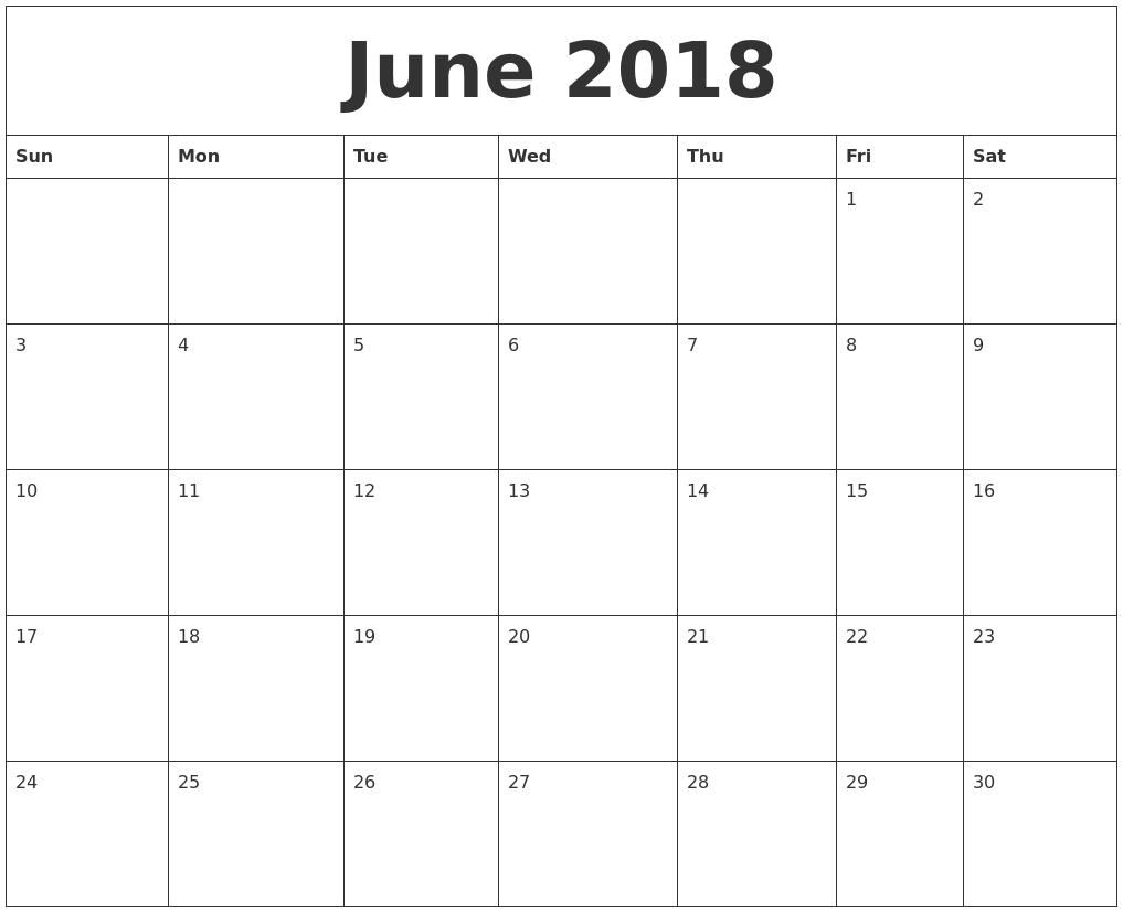 Http Zhonggdjw Com 2018 June Calendar Html 2018 June Calendar Printable Templat Printable Calendar July Printable Calendar Template Monthly Calendar Template