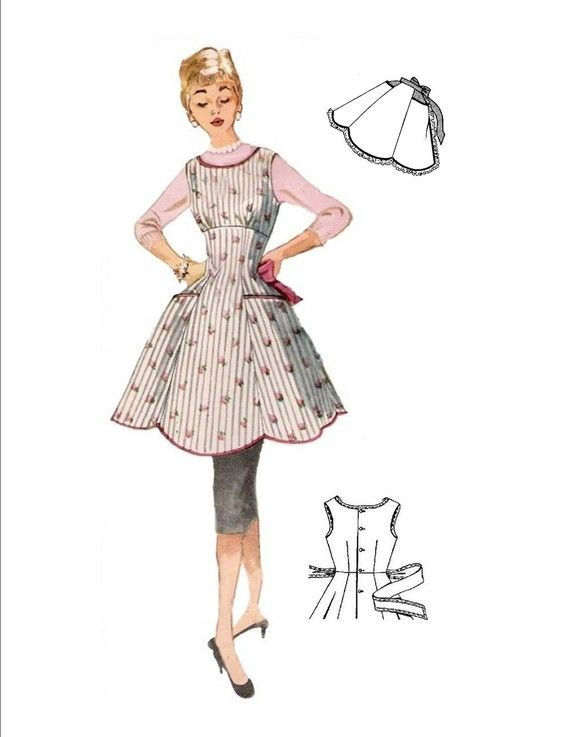 Vintage Full and Half Apron Pattern 50s on PDF No 17 Available in ...